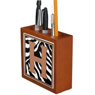 H-Monogrammed Zebra Print Desk Organizer
