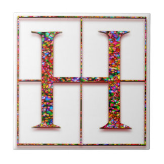 H Trajanus Red Custom Monogram Tile