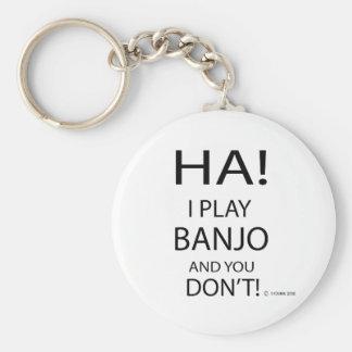 Ha Banjo Basic Round Button Keychain