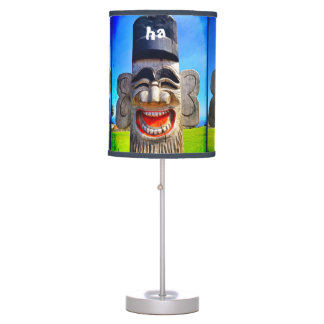 """Ha Ha Ha"" Funny Smiling Laughing Wood Heads Photo Table Lamp"