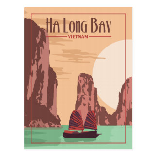 Ha Long Bay Vietnam - Vintage Travel Postcard