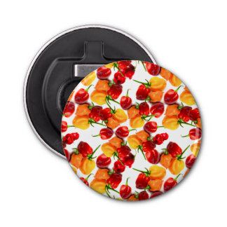 Habanero Chilies Red Peppers Orange Hot Food Button Bottle Opener