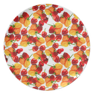 Habanero Chilies Red Peppers Orange Hot Food Dinner Plate