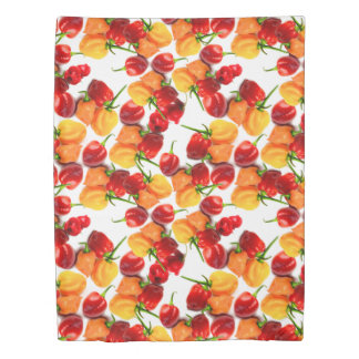 Habanero Chilies Red Peppers Orange Hot Food Duvet Cover
