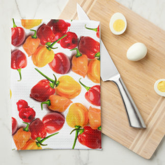Habanero Chilies Red Peppers Orange Hot Food Kitchen Towel