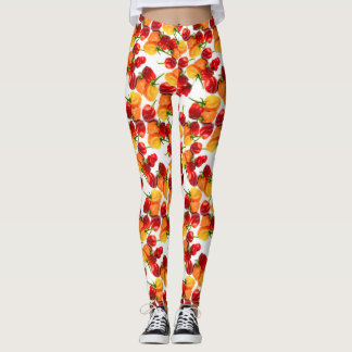Habanero Chilies Red Peppers Orange Hot Food Leggings