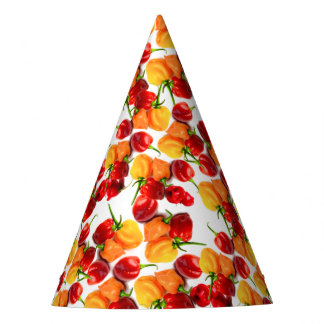 Habanero Chilies Red Peppers Orange Hot Food Party Hat