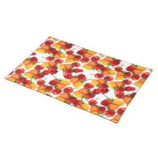 Habanero Chilies Red Peppers Orange Hot Food Placemat