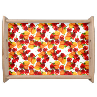 Habanero Chilies Red Peppers Orange Hot Food Serving Tray