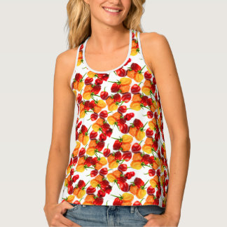 Habanero Chilies Red Peppers Orange Hot Food Tank Top