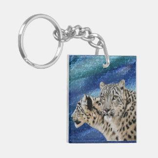 Habitat de léopard de neige porte-clé carré en acrylique double face