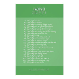 Habits of Slim People (green) Poster