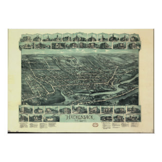 Hackensack New Jersey 1896 Antique Panoramic Map Poster