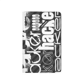 Hacker; Black & Dark Gray Stripes Journal