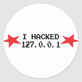hacker i hacked 127.0.0.1 classic round sticker