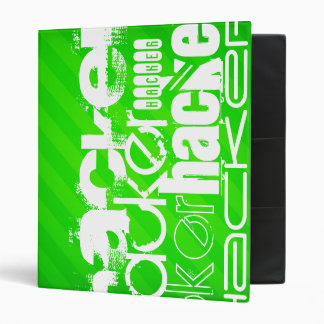 Hacker; Neon Green Stripes Vinyl Binder