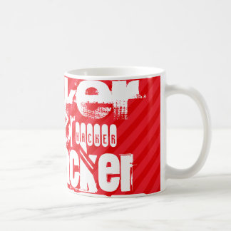 Hacker; Scarlet Red Stripes Basic White Mug