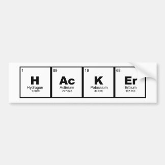 """hacker"" STEM chemistry periodic table Bumper Sticker"