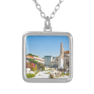 Hadrian Library in Athens, Greece Silver Plated Necklace