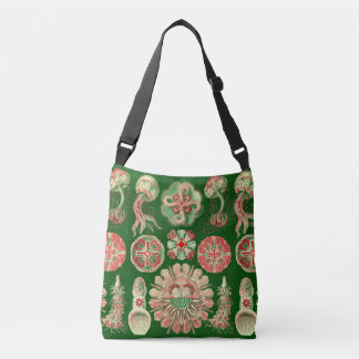 Haeckel Marine Jellyfish Illustration Red & Green Crossbody Bag