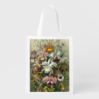 Haeckel Orchidaceae Orchids Reusable Grocery Bags
