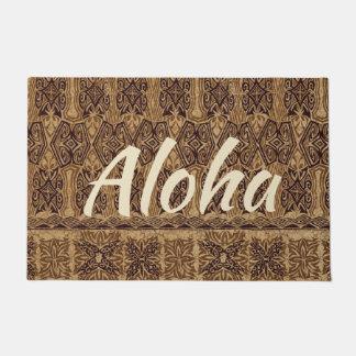 Haena Beach Hawaiian Primitive Tapa Aloha Brown Doormat