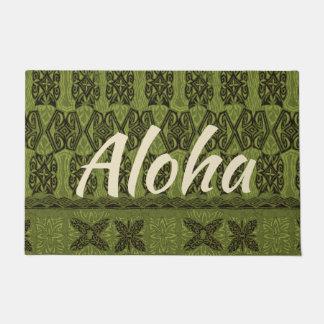 Haena Beach Hawaiian Primitive Tapa Aloha Olive Doormat