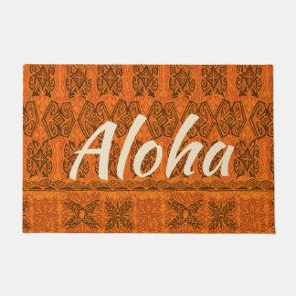 Haena Beach Hawaiian Primitive Tapa Aloha Orange Doormat