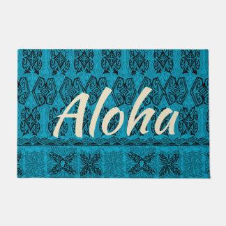 Haena Beach Hawaiian Primitive Tapa Aloha Teal Doormat