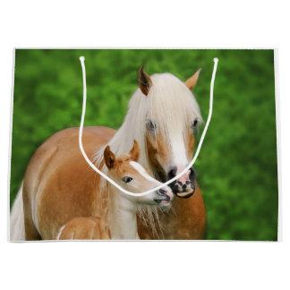 Haflinger Horse Cute Baby Foal Kiss Mum Pony Photo Large Gift Bag