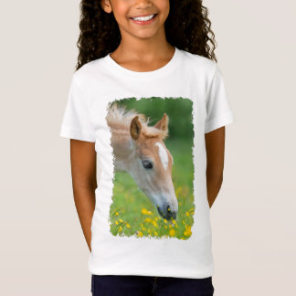 Haflinger Horse Cute Foal Flowers Photo  for girls T-Shirt