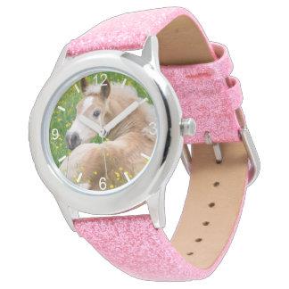 Haflinger Horse Cute Foal in Flowerbed  dial-plate Watch