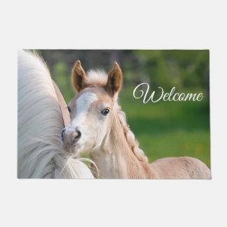 Haflinger Horses Cute Baby Foal Photo - Welcome . Doormat