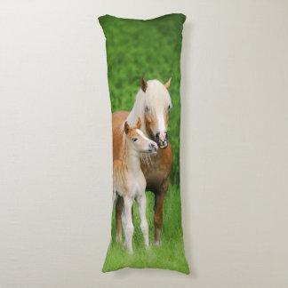 Haflinger Horses Cute Foal Kiss Mum Photo - cuddly Body Pillow