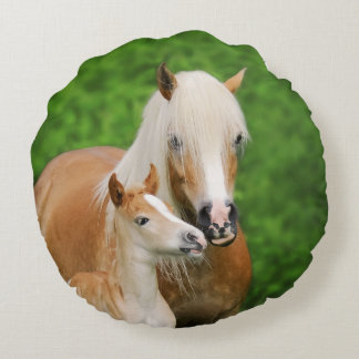 Haflinger Horses Cute Foal Kiss Mum Photo smooth Round Pillow
