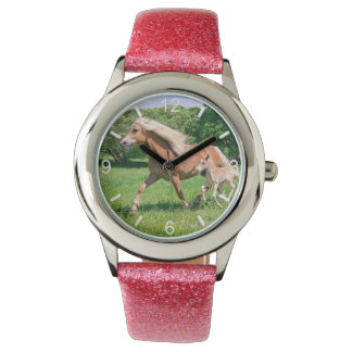 Haflinger Horses Cute Foals Run Funny - dial-plate Watch