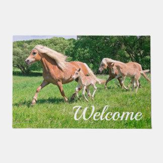 Haflinger Horses Cute Foals Run Funny - Welcome // Doormat