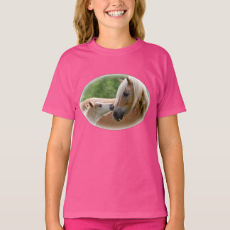 Haflinger Horses Foal and Mare Cuddling - girl T-Shirt