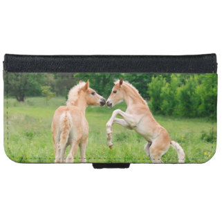 Haflinger Horses Foals Rearing Funny Photo - iPhone 6 Wallet Case