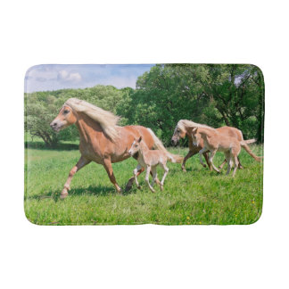 Haflinger Horses with Cute Foals Run Funny Photo , Bath Mat
