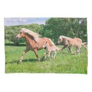 Haflinger Horses with Cute Foals Run Funny Photo . Pillowcase