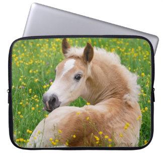 Haflinger Pony Horse Cute Foal in Flowerbed Photo Laptop Sleeve