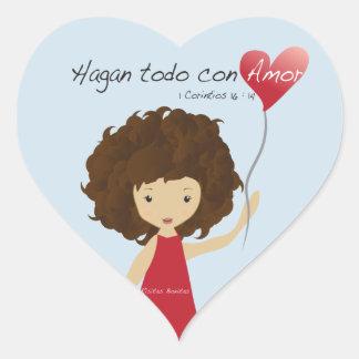 Hagan todo con amor heart sticker