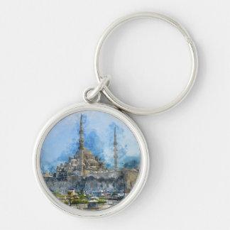 Hagia Sophia in Istanbul Turkey Silver-Colored Round Keychain