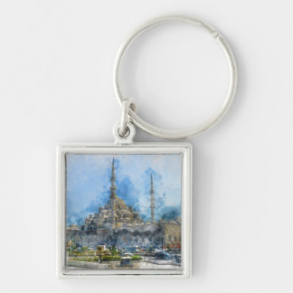 Hagia Sophia in Istanbul Turkey Silver-Colored Square Keychain