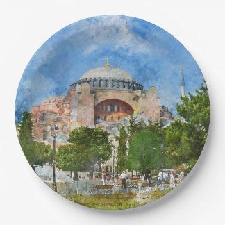 Hagia Sophia in Sultanahmet, Istanbul 9 Inch Paper Plate