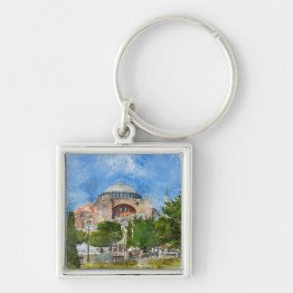 Hagia Sophia in Sultanahmet, Istanbul Silver-Colored Square Keychain