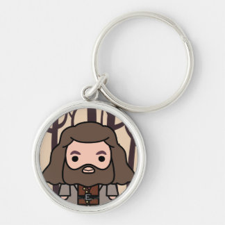 Hagrid Cartoon Character Art Silver-Colored Round Keychain