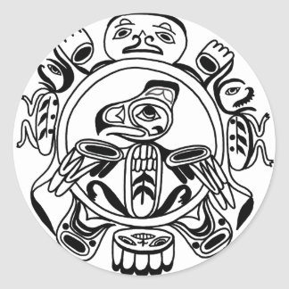 Haida Art - Nativive American Haidia Design Classic Round Sticker