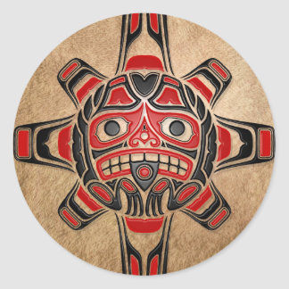 Haida Sun Mask Classic Round Sticker
